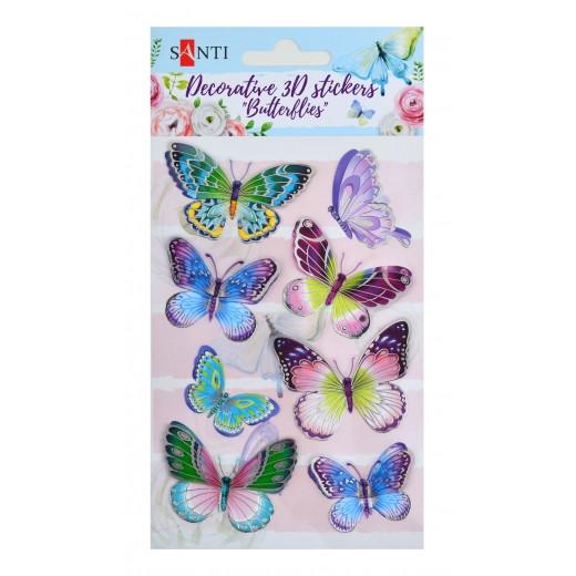 """Набір декоративних  3D стікерів """"Метелики 2"""". 100 * 150 мм"""