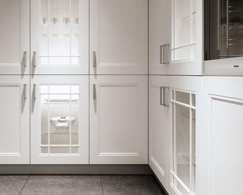 Белые фасады из натурального дерева ясеня в кухню