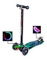 Дитячий самокат MAXI Хімія, зі світлими колесами, поворот нахилом керма