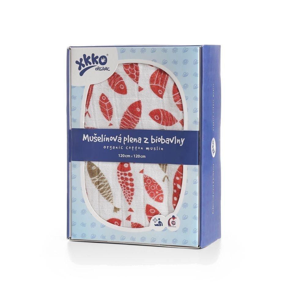 Пеленки из органического хлопка  XKKO 120х120  1 шт. Золотая рыбка