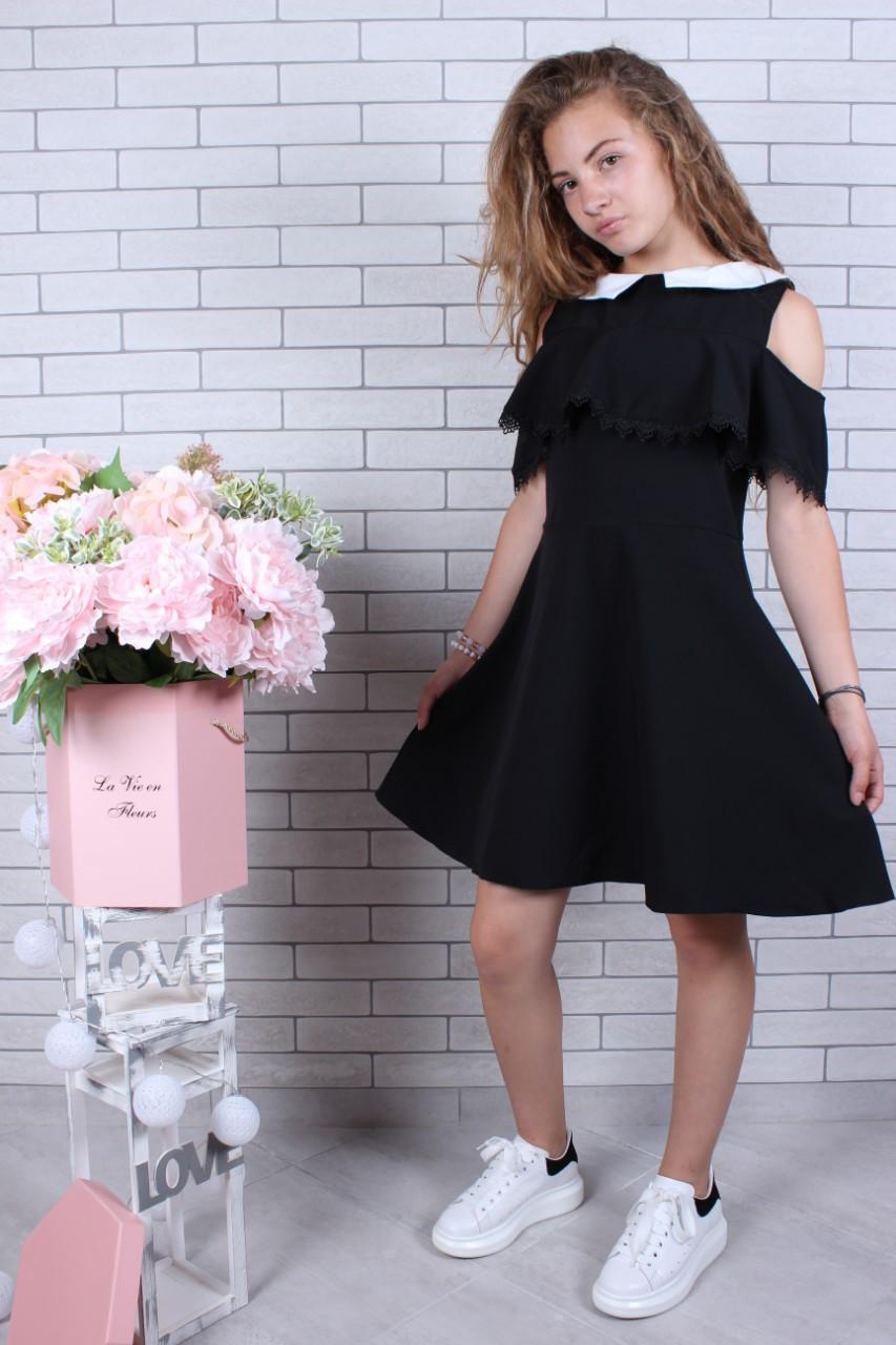 Школьное платье  р.134-164 черное с воланами