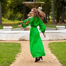 Длинное платья в украинском стиле Колорит зеленое, фото 3