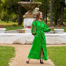 Длинное платья в украинском стиле Колорит зеленое, фото 2