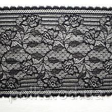 Стрейчевое кружево, ширина 15см, цвет черный (Италия)