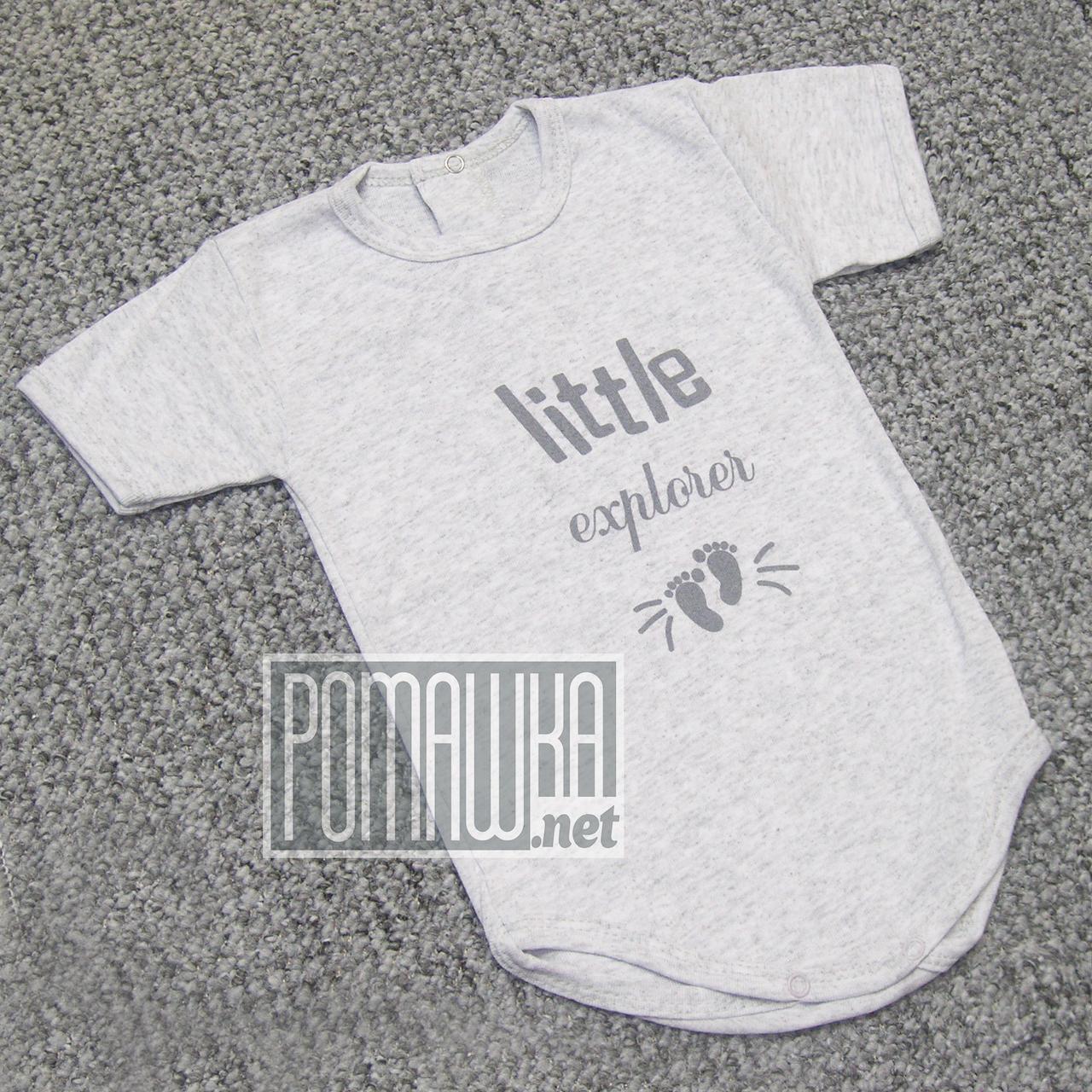 Детское боди футболка 92 12-18 мес легкий с коротким рукавом для малышей летний на лето РИБАНА 4757 Серый
