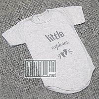 Детское боди футболка 92 12-18 мес легкий с коротким рукавом для малышей летний на лето РИБАНА 4757 Серый, фото 1