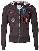 Оригинальный реглан Top Gun Zip-Up Military Patched Hoodie TGD1407 (Brown), фото 1