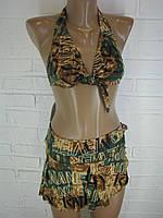 Женский купальник коричнево-зелёный  9666