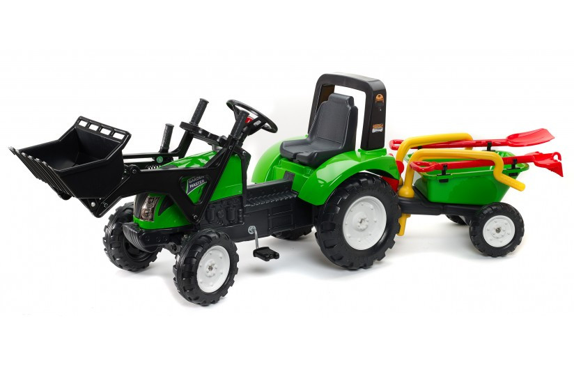 Детский трактор Falk 1057RM зеленый на педалях с прицепом и передним  ковшом