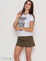 Хлопковая женская футболка с совой (S, M, L, XL, разные цвета), фото 3