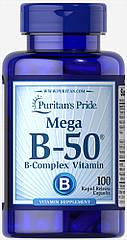 Puritan's Pride Vitamin B-50 Complex 50 mg, Комплекс вітамінів групи B (100 капс.)