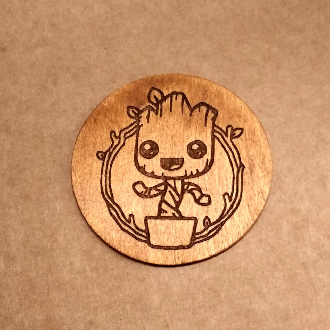 Костер деревянный. Подставка под кружку Groot.