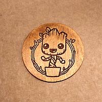 Подставка под кружку. Костер с лазерной гравировкой. Костер деревянный. Подставка под кружку Groot.