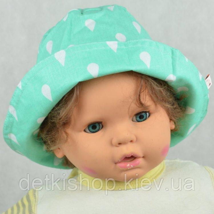 Панама детская (модель 05, зелёная с капельками)