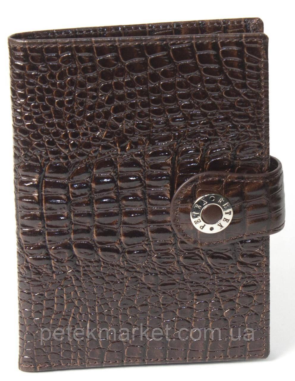 Обложка для паспорта Petek 652D, Коричневый, Рептилия, Матовая