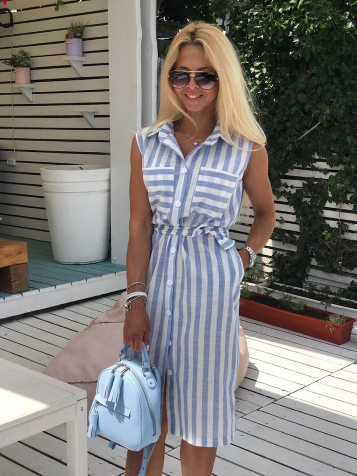 Платье-рубашка женское длинное из льна на пуговицах под пояс (К28044)