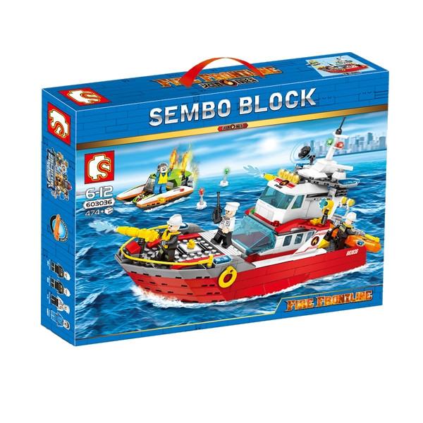 """Конструктор Sembo 603036 """"Пожарный катер"""" (аналог Lego City), 474 дет"""