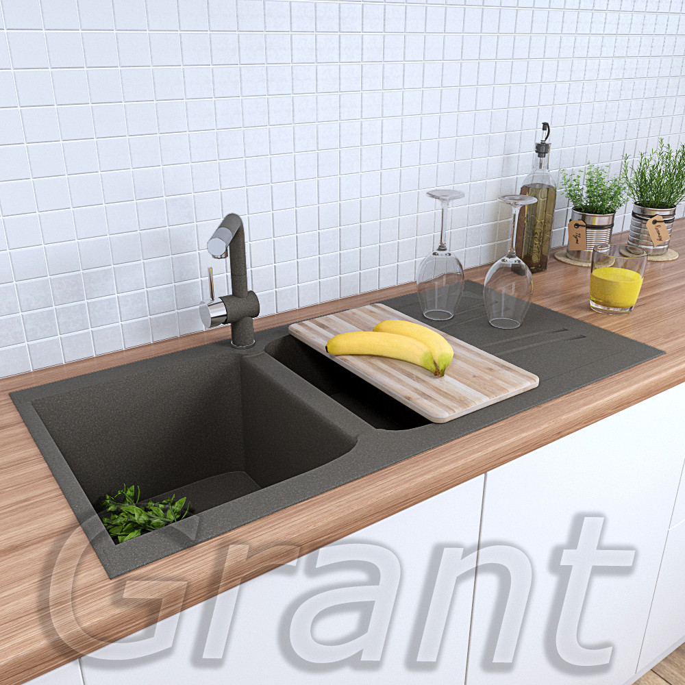 Мойка 990х500 кухонная полуторачашевая из гранита Grant Gallant серая