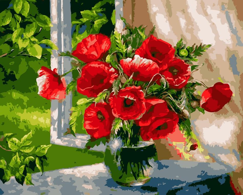 Картины по номерам Маки в вазе ArtStory AS0613 50 х 65 см