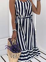 Платье женское длинное из льна на брителях с пышной оборкой в полоску (К28045), фото 1