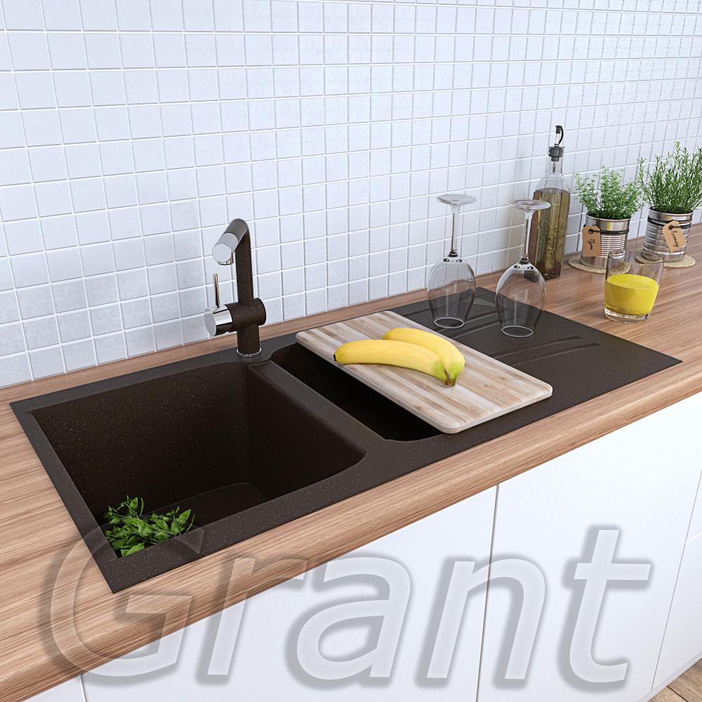 Мойка кухонная полуторачашевая  990х500 гранитная Grant Gallant коричневая