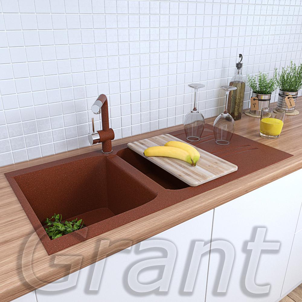 Кухонная врезная гранитная мойка с крылом 990х500 Grant Gallant цвет - терракотовый