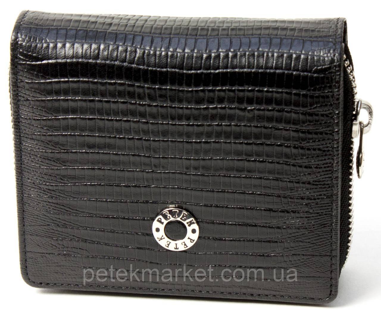 Женское портмоне Petek 457, Черный, 2, 5+, Вертикальное, Рептилия, Внутри, Матовая, Стандартное