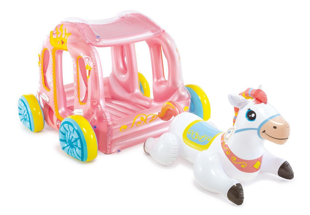Игровой центр-бассейн Intex 56514 Карета Принцессы надувная карета и конь