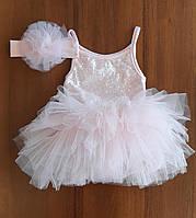 Набор платье боди с повязкой для девочки 12-18 мес 80-86 см