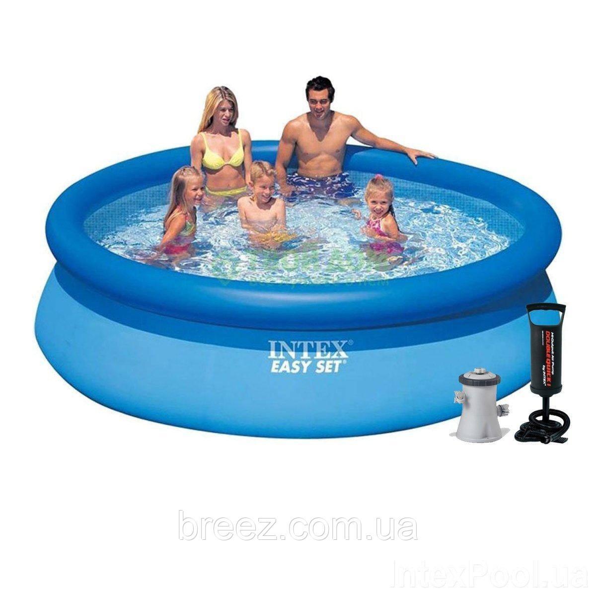 Надувной бассейн Intex 28122-3 305 х 76 см 1 250 л/ч, подстилка, тент, насос