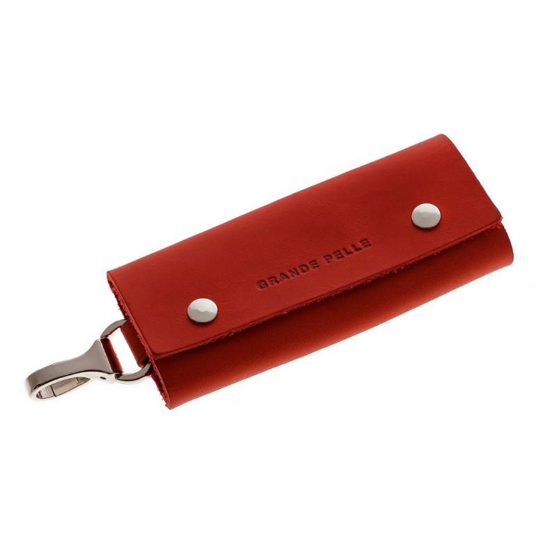 Ключница на кнопках Grande Pelle 405160 матовая кожа красная