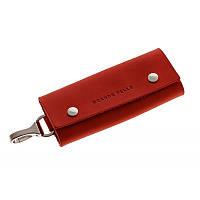 Ключница на кнопках Grande Pelle 405160 матовая кожа красная, фото 1