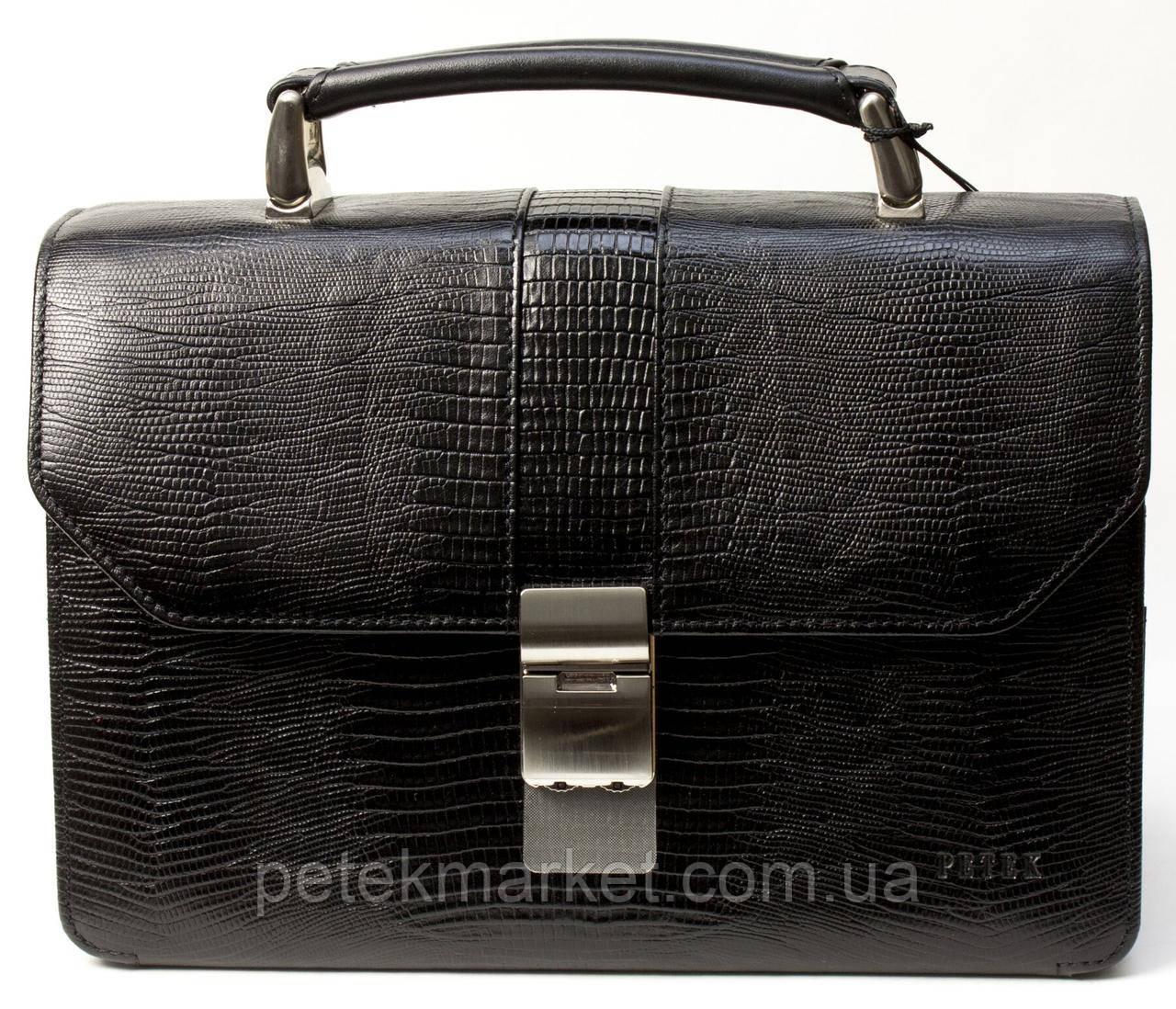Барсетка Petek 750, Черный, Рептилия, Матовая
