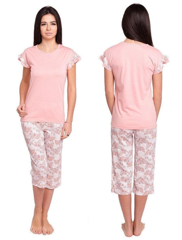 Пижама с бриджами женская трикотажная домашняя одежда, персиковая