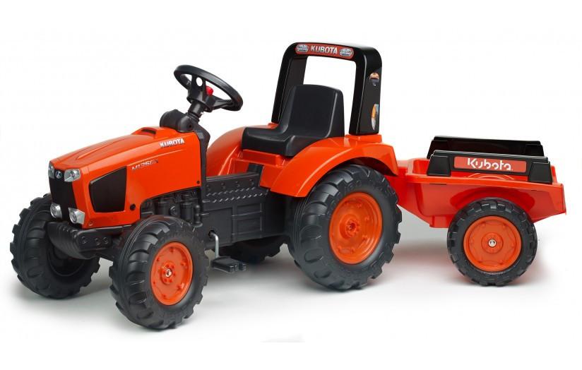Детский трактор Falk 2060AB KUBOTA оранжевый на педалях с прицепом
