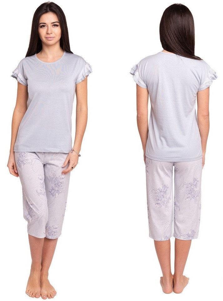 Пижама с бриджами женская трикотажная домашняя одежда, голубая