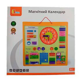 Магнитный календарь Viga Toys с часами, на украинском языке (50377U)