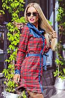 Легкое стильное летнее женское платье рубашка в клетчатую расцветку со вставками джинса рукав длинный коттон, фото 1