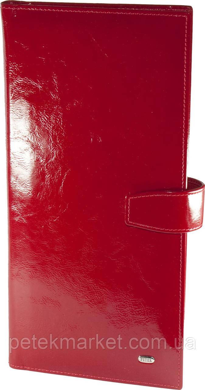 Визитница Petek 1081, Красный, Тиснение, Лакированная, Кожа