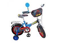 """Велосипед детский мульт 12"""" P 1245S  СП, зеркало, звонок, руч.торм. ,сине-чер"""