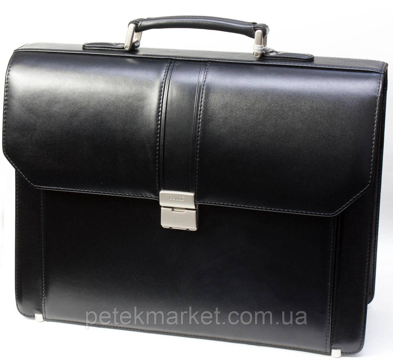 Портфель мужской Petek 862, Черный, Рептилия, Матовая