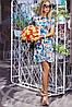 Модное платье приталенное расклешенное цветное с коротким рукавом фонарик микродайвинг