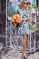 Модное платье приталенное расклешенное цветное с коротким рукавом фонарик микродайвинг, фото 1