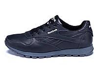 Мужские кожаные кроссовки Reebok Classic Black (реплика)