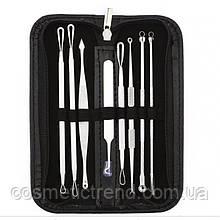 Инструменты для чистки лица косметологические профессиональные в наборе (8 предметов+футляр на молнии)