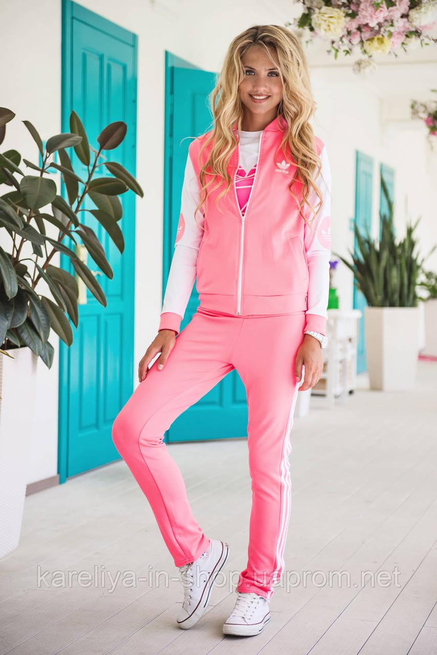 Розовый костюм адидас женский