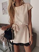 Летнее свободное платье с кружевом