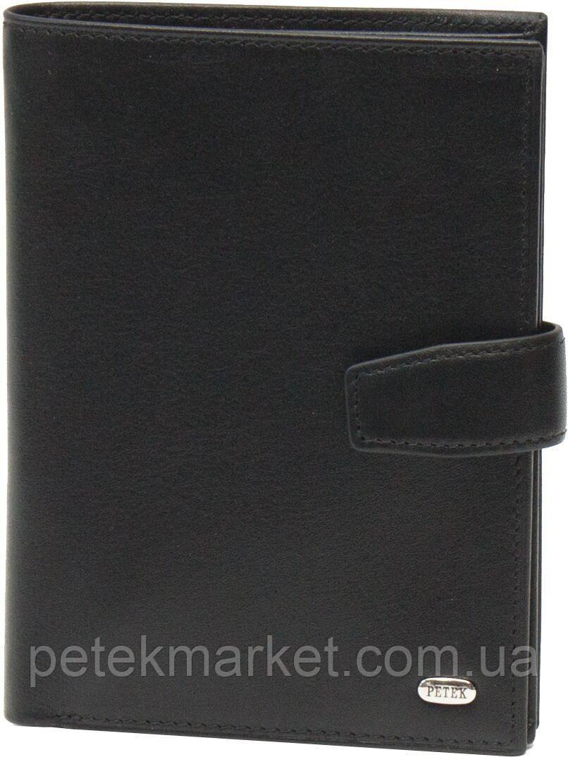 Обложка для паспорта/автод-тов/портмоне Petek 596, Черный, Гладкая, Матовая