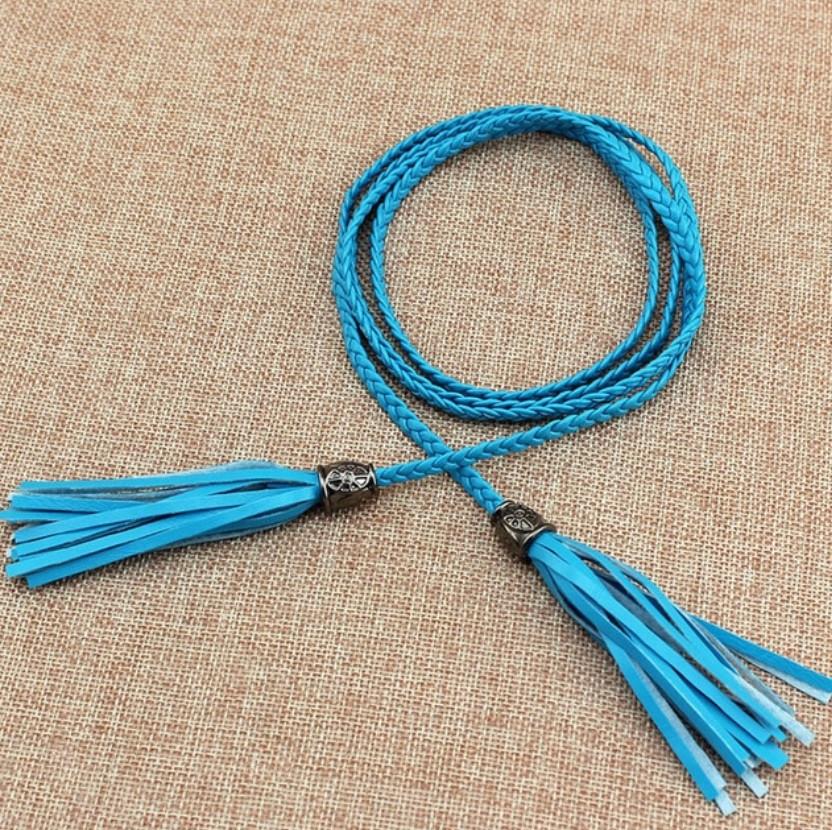 Пояс женский Кисточка/ цвет голубой/ материал PU