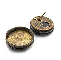 Солнечные часы с компасом бронзовые (d-4.8,h-1.8 см.)